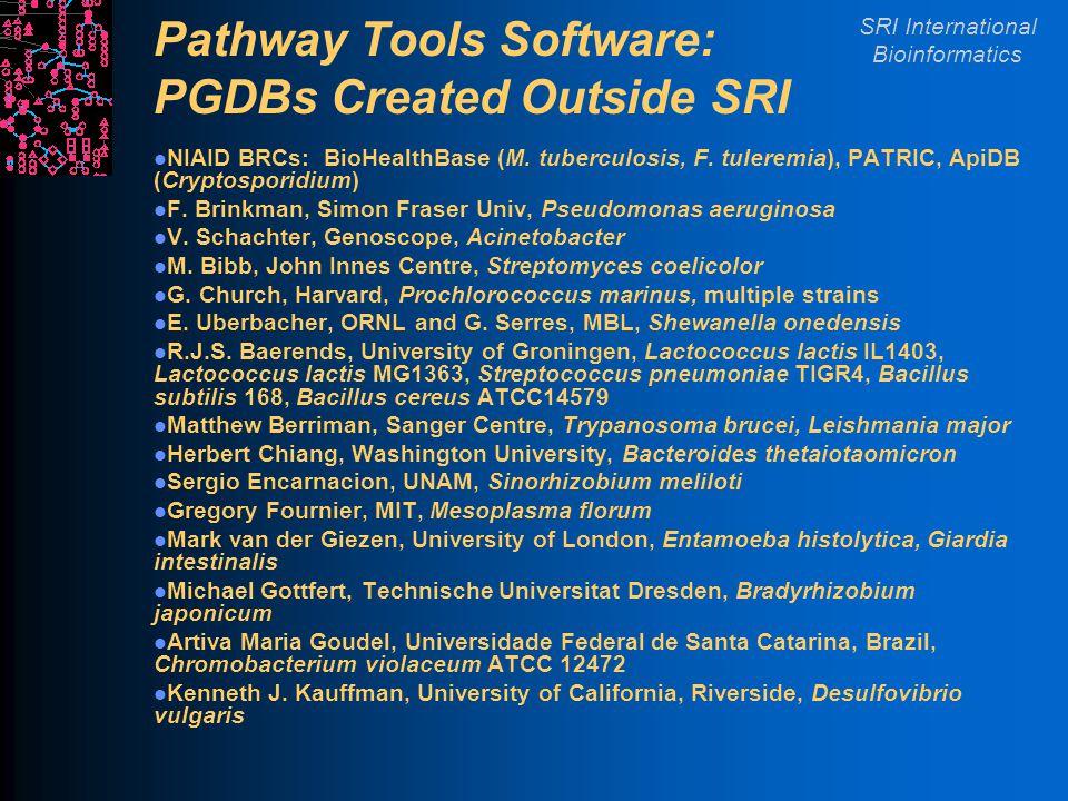 SRI International Bioinformatics Pathway Tools Software: PGDBs Created Outside SRI NIAID BRCs: BioHealthBase (M.