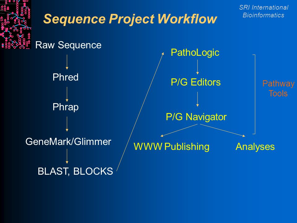SRI International Bioinformatics Sequence Project Workflow Raw Sequence Phred Phrap BLAST, BLOCKS GeneMark/Glimmer PathoLogic P/G Navigator P/G Editors WWW PublishingAnalyses Pathway Tools