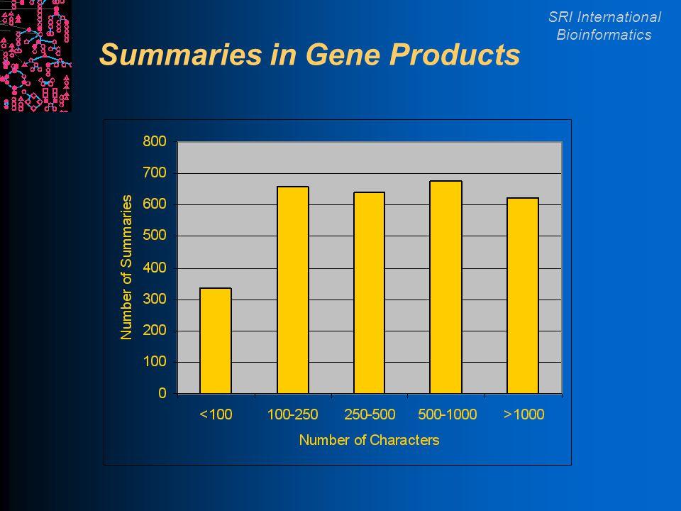 SRI International Bioinformatics Summaries in Gene Products