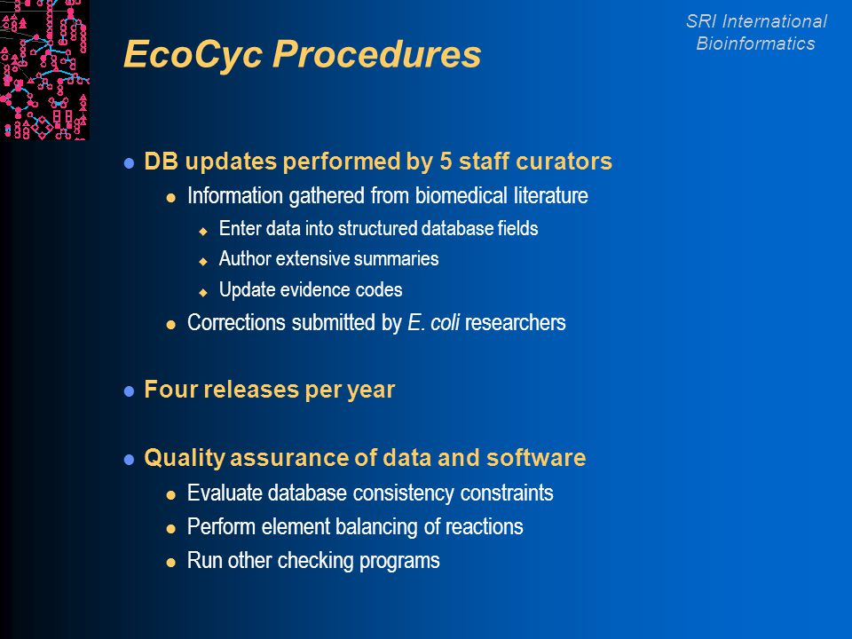 SRI International Bioinformatics EcoCyc Procedures DB updates performed by 5 staff curators l Information gathered from biomedical literature u Enter