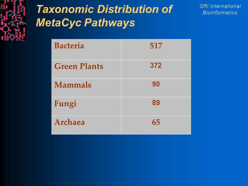 SRI International Bioinformatics Taxonomic Distribution of MetaCyc Pathways Bacteria517 Green Plants 372 Mammals 90 Fungi 89 Archaea65