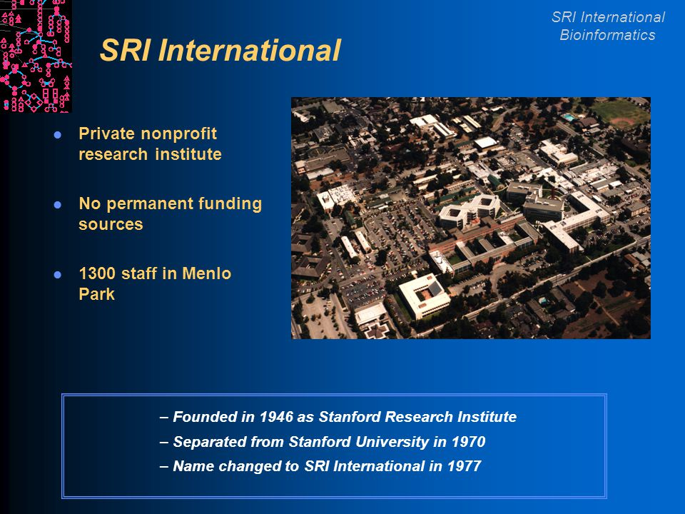 SRI International Bioinformatics SRI International Private nonprofit research institute No permanent funding sources 1300 staff in Menlo Park – Founded in 1946 as Stanford Research Institute – Separated from Stanford University in 1970 – Name changed to SRI International in 1977