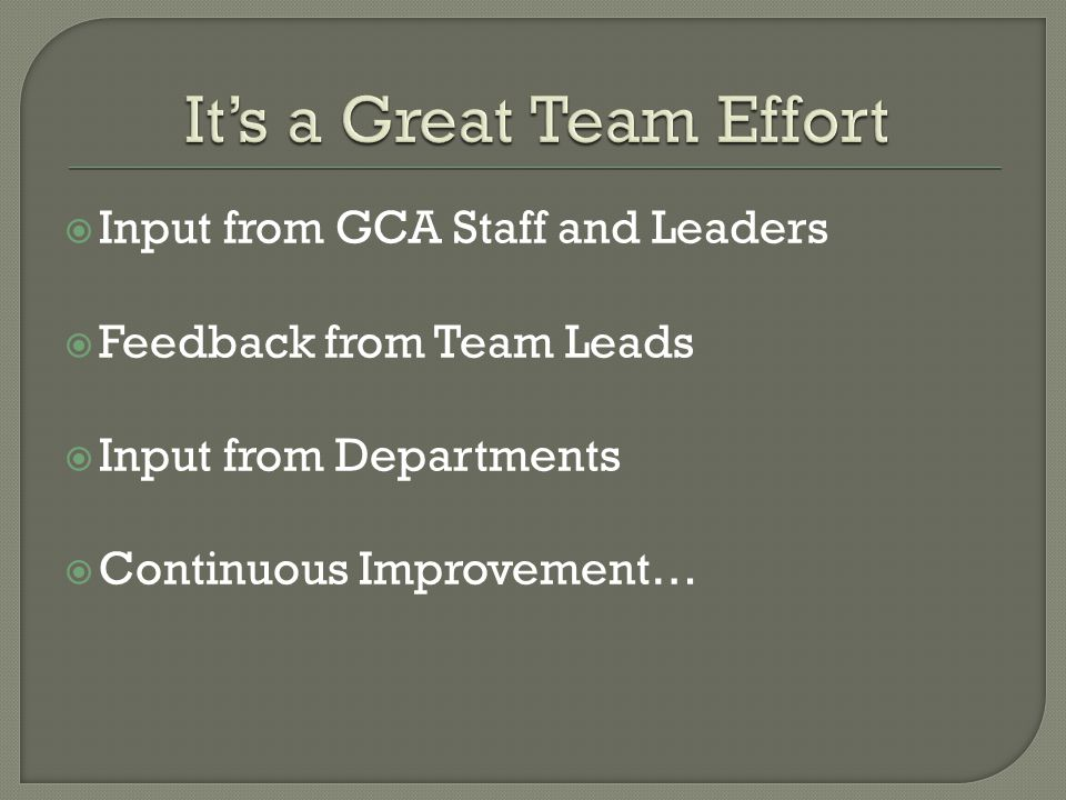 Input from GCA Staff and Leaders Feedback from Team Leads Input from Departments Continuous Improvement…