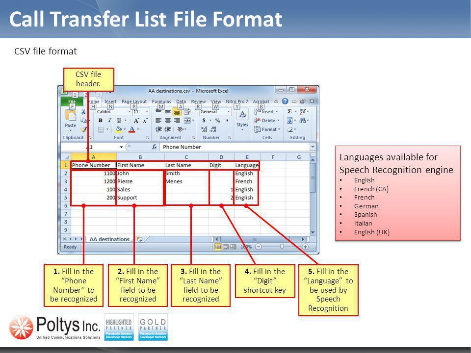 CSV file format Call Transfer List File Format CSV file header.