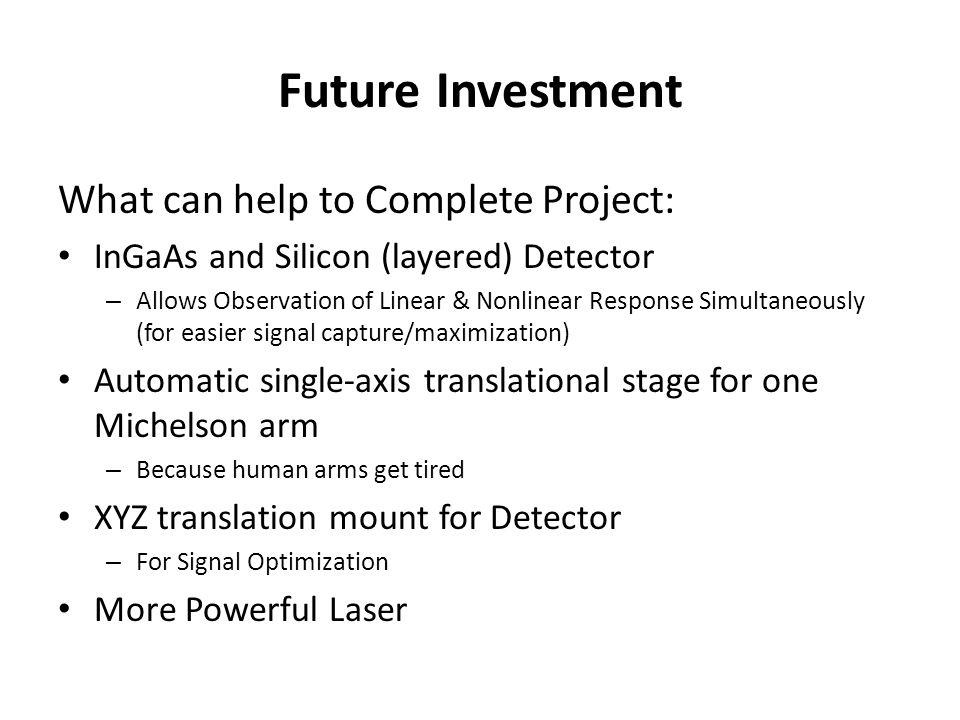 Future Investment What can help to Complete Project: InGaAs and Silicon (layered) Detector – Allows Observation of Linear & Nonlinear Response Simulta