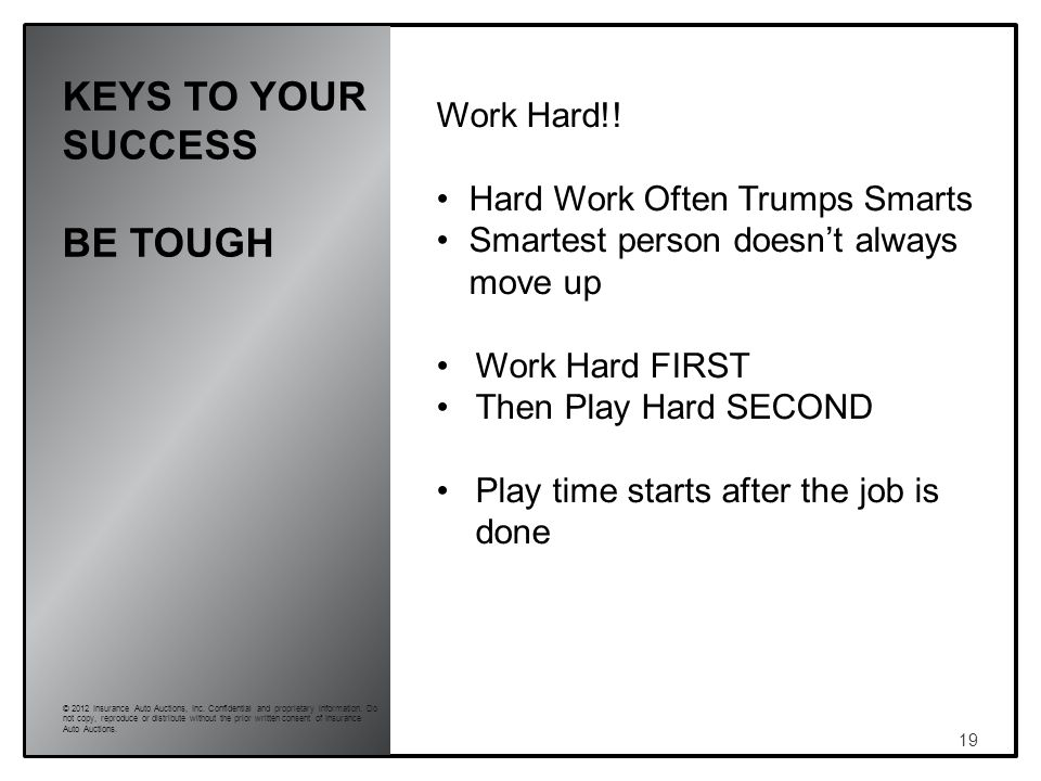 KEYS TO YOUR SUCCESS BE TOUGH 19 © 2012 Insurance Auto Auctions, Inc.