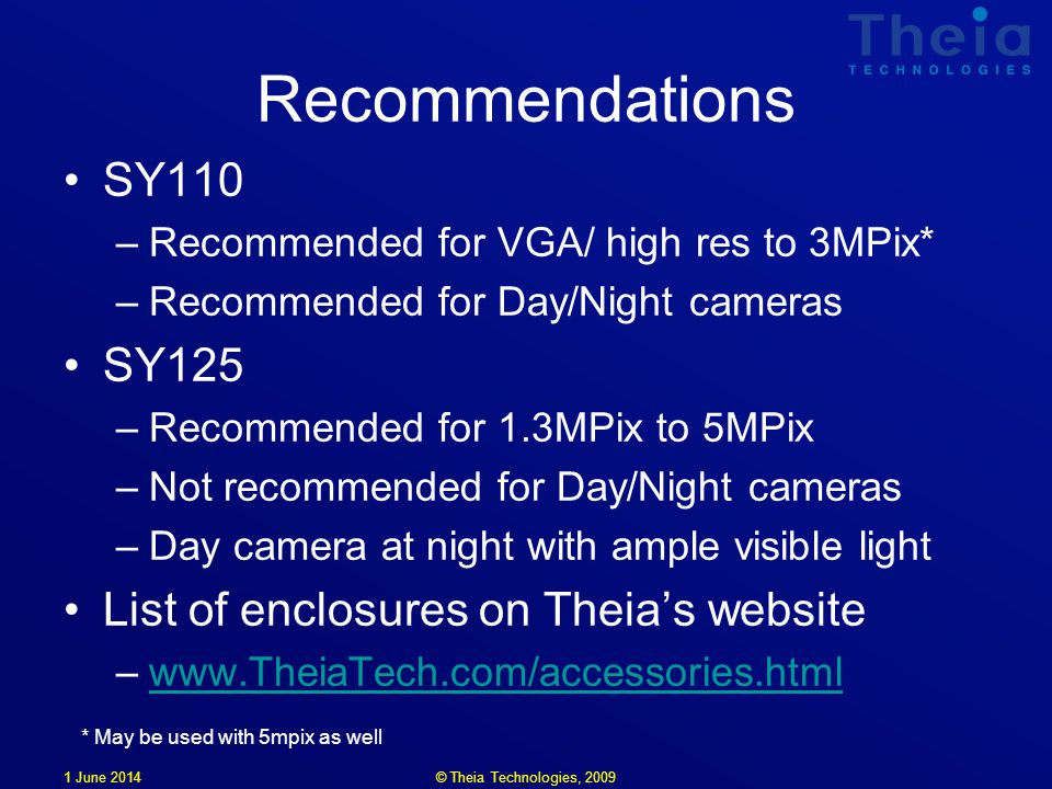 1 June 2014 Recommendations SY110 –Recommended for VGA/ high res to 3MPix* –Recommended for Day/Night cameras SY125 –Recommended for 1.3MPix to 5MPix