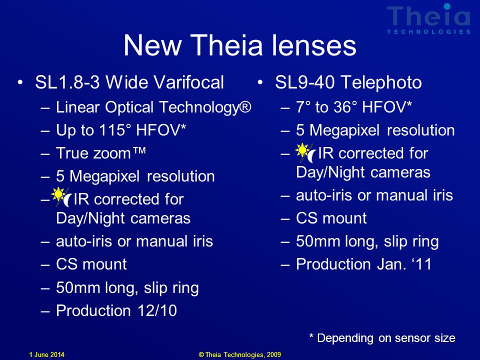 1 June 2014 New Theia lenses SL1.8-3 Wide Varifocal –Linear Optical Technology® –Up to 115° HFOV* –True zoom –5 Megapixel resolution – IR corrected for Day/Night cameras –auto-iris or manual iris –CS mount –50mm long, slip ring –Production 12/10 SL9-40 Telephoto –7° to 36° HFOV* –5 Megapixel resolution – IR corrected for Day/Night cameras –auto-iris or manual iris –CS mount –50mm long, slip ring –Production Jan.