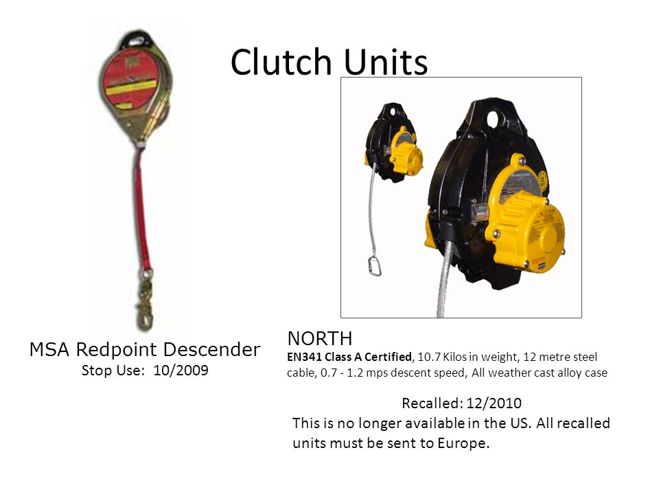 Clutch Units MSA Redpoint Descender Stop Use: 10/2009 Recalled: 12/2010 This is no longer available in the US. All recalled units must be sent to Euro