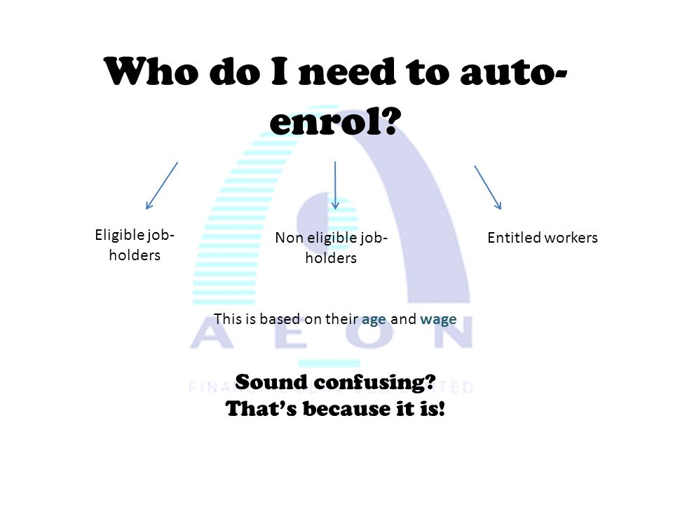 Who do I need to auto- enrol? Eligible job- holders Non eligible job- holders Entitled workers This is based on their age and wage Sound confusing? Th