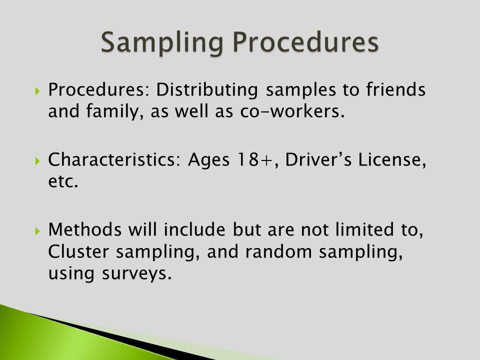Procedures: Distributing samples to friends and family, as well as co-workers.