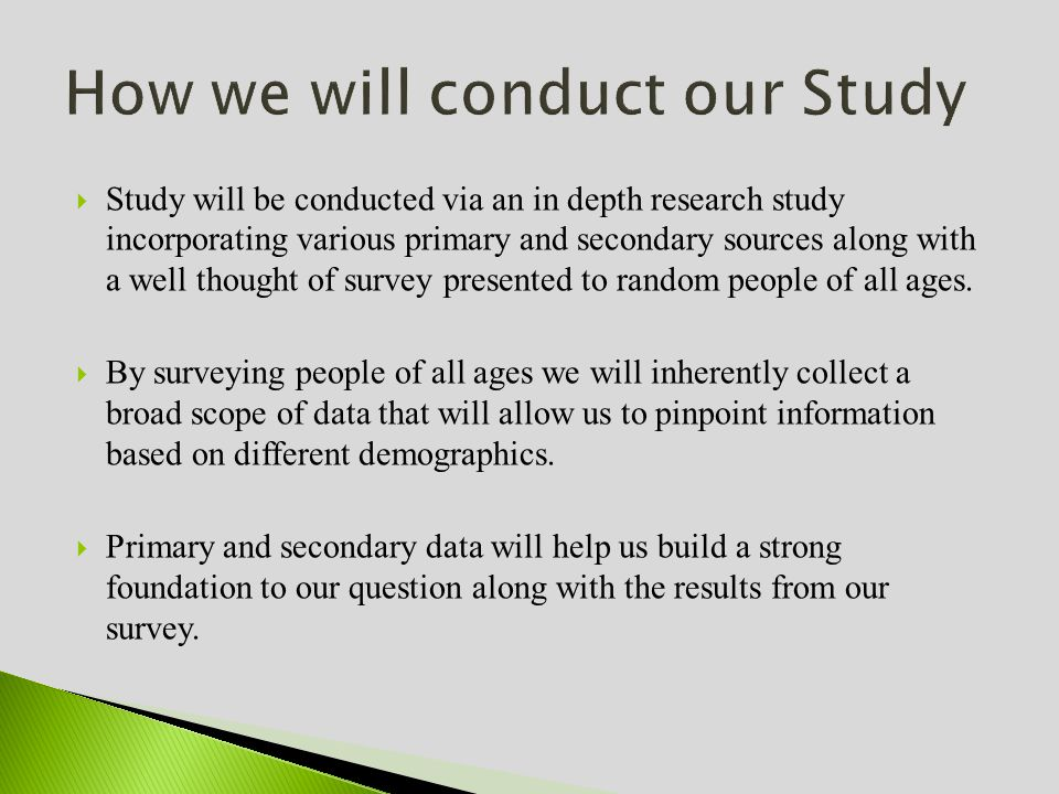 Study will be conducted via an in depth research study incorporating various primary and secondary sources along with a well thought of survey presented to random people of all ages.