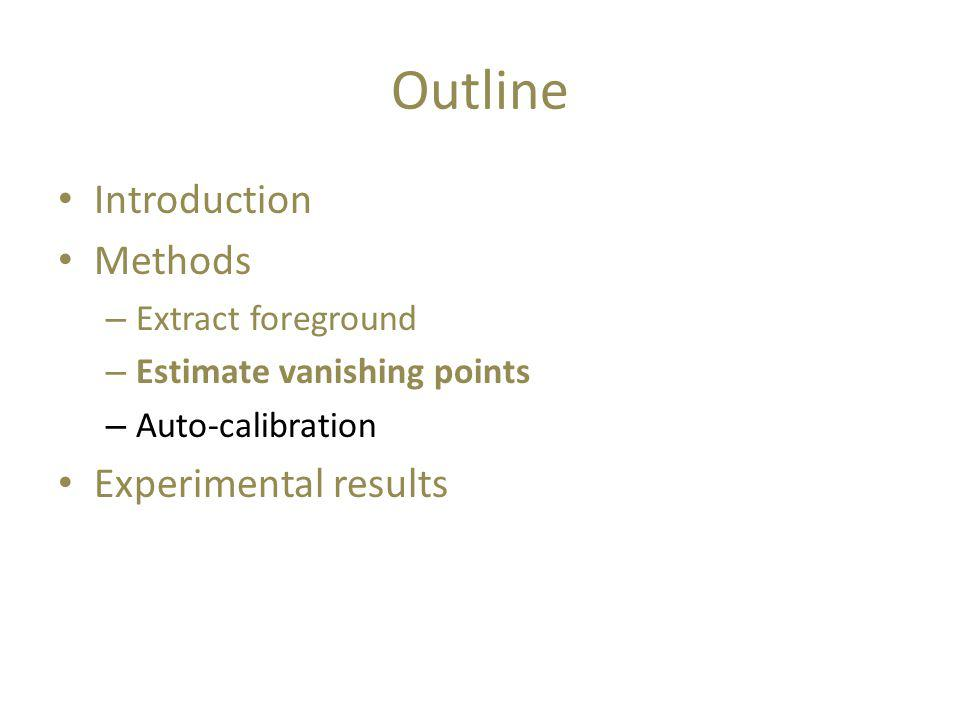 Outline Introduction Methods – Extract foreground – Estimate vanishing points – Auto-calibration Experimental results