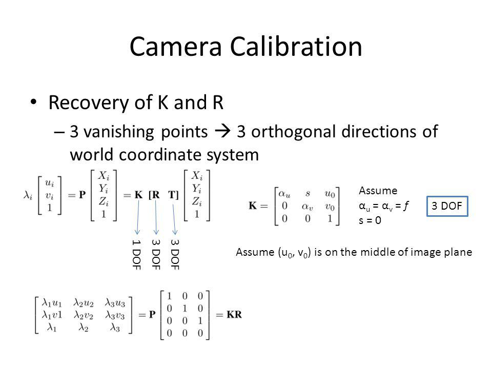 Camera Calibration Recovery of K and R – 3 vanishing points 3 orthogonal directions of world coordinate system 3 DOF Assume α u = α v = f s = 0 Assume (u 0, v 0 ) is on the middle of image plane 1 DOF3 DOF