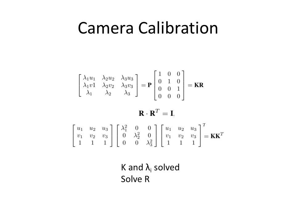 Camera Calibration K and λ i solved Solve R