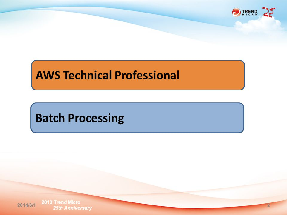 2013 Trend Micro 25th Anniversary 2014/6/12 AWS Technical Professional Batch Processing