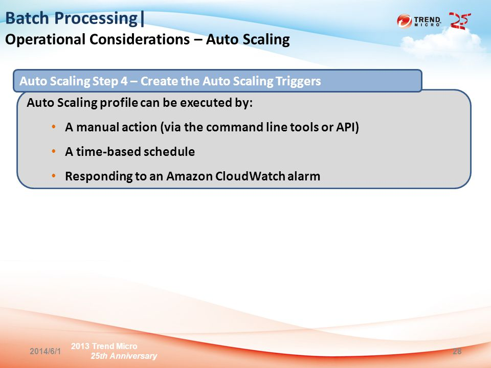 2013 Trend Micro 25th Anniversary 2014/6/128 Batch Processing| Operational Considerations – Auto Scaling Auto Scaling profile can be executed by: A manual action (via the command line tools or API) A time-based schedule Responding to an Amazon CloudWatch alarm Auto Scaling Step 4 – Create the Auto Scaling Triggers