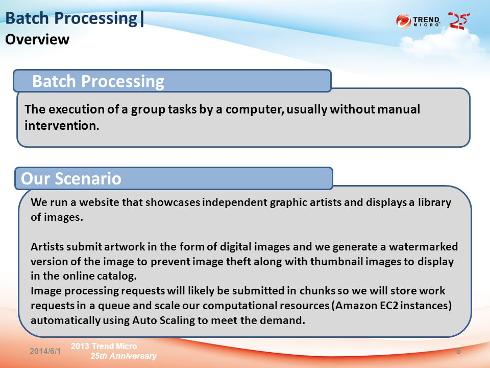 2013 Trend Micro 25th Anniversary 2014/6/15 Batch Processing| Overview The execution of a group tasks by a computer, usually without manual intervention.