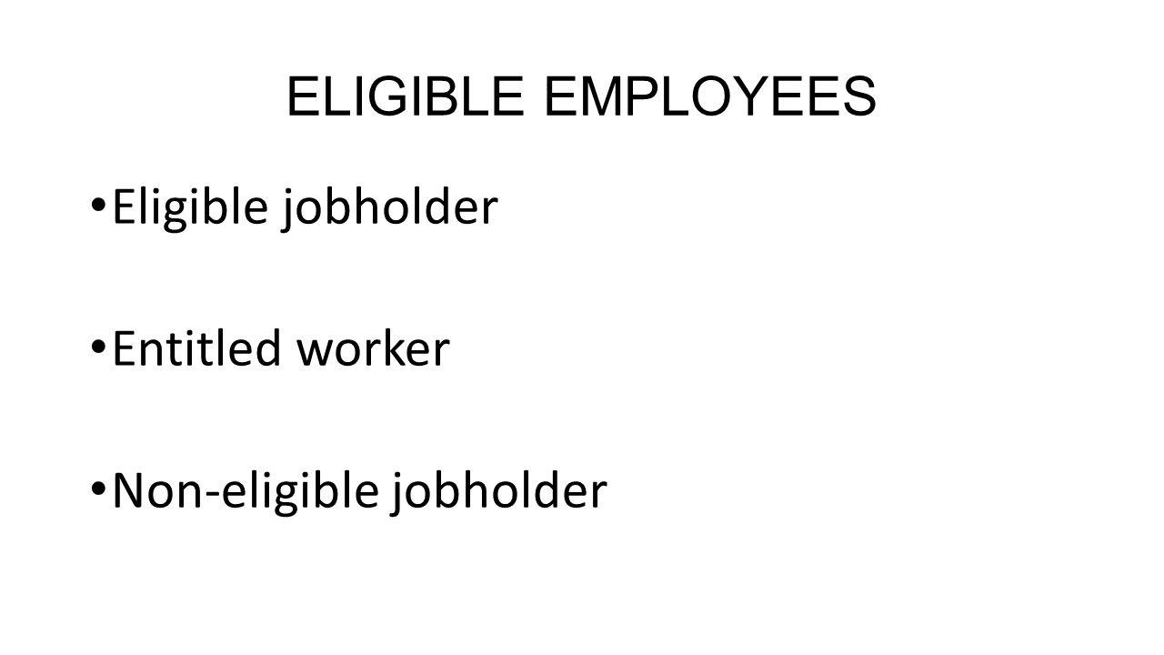 ELIGIBLE EMPLOYEES Eligible jobholder Entitled worker Non-eligible jobholder