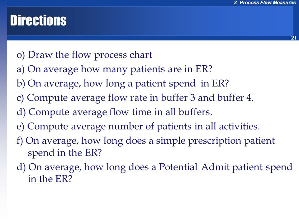 21 3. Process Flow Measures Directions o) Draw the flow process chart a) On average how many patients are in ER? b) On average, how long a patient spe
