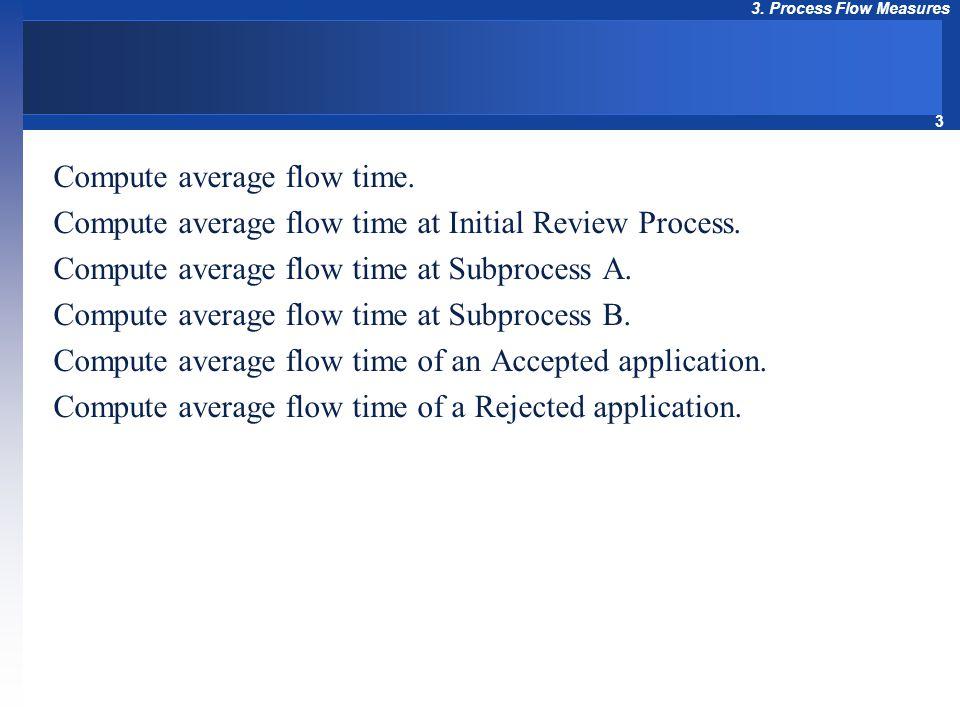 3 3. Process Flow Measures Compute average flow time. Compute average flow time at Initial Review Process. Compute average flow time at Subprocess A.