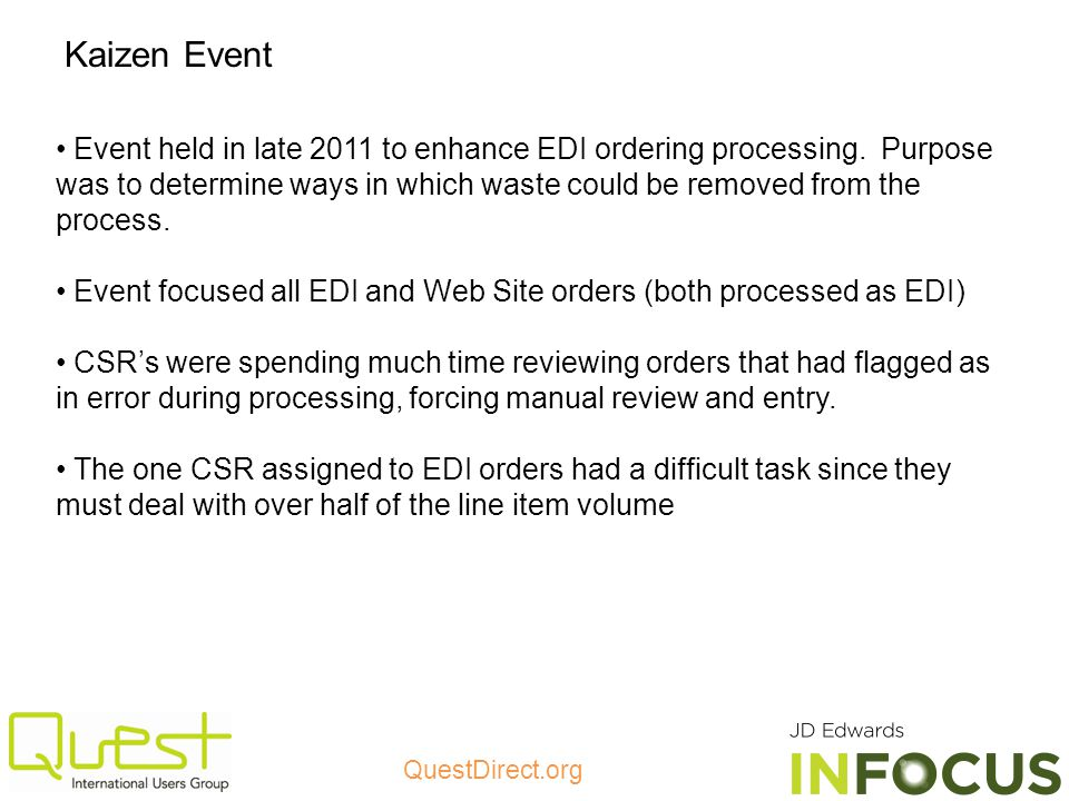 QuestDirect.org Event held in late 2011 to enhance EDI ordering processing.