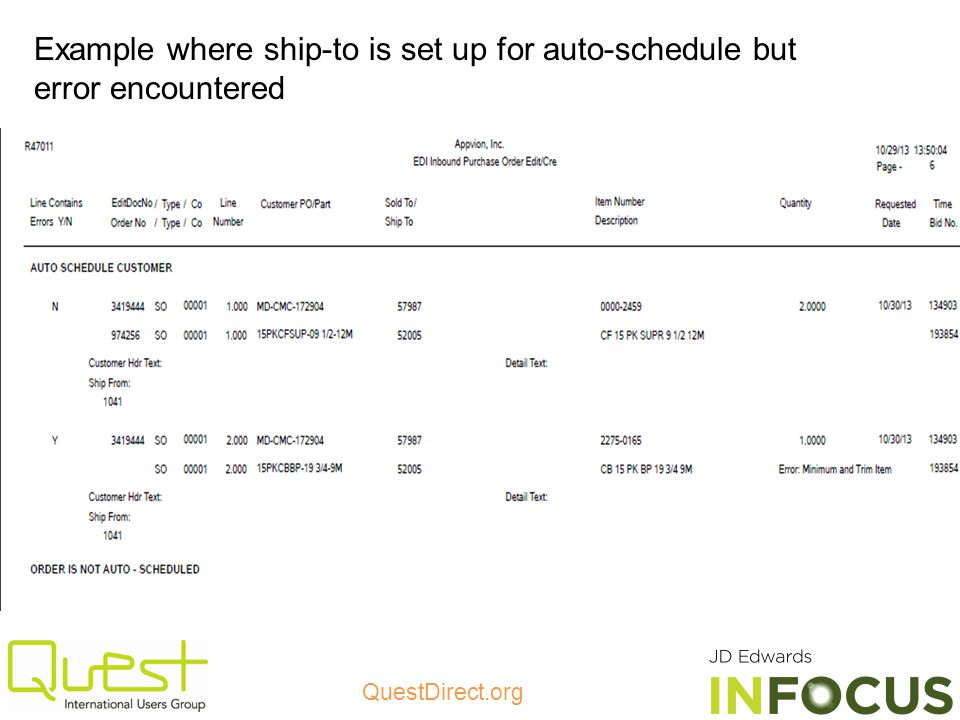 QuestDirect.org Example where ship-to is set up for auto-schedule but error encountered
