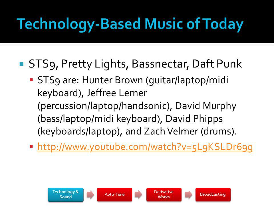 STS9, Pretty Lights, Bassnectar, Daft Punk STS9 are: Hunter Brown (guitar/laptop/midi keyboard), Jeffree Lerner (percussion/laptop/handsonic), David Murphy (bass/laptop/midi keyboard), David Phipps (keyboards/laptop), and Zach Velmer (drums).