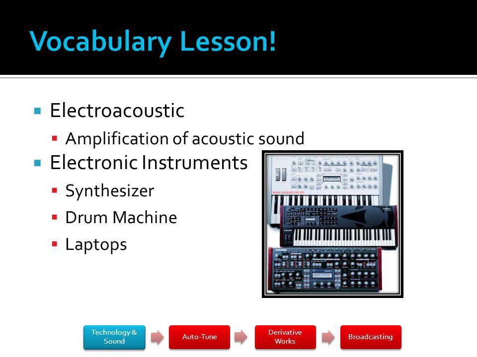 Electroacoustic Amplification of acoustic sound Electronic Instruments Synthesizer Drum Machine Laptops Technology & Sound Auto-Tune Derivative Works Broadcasting