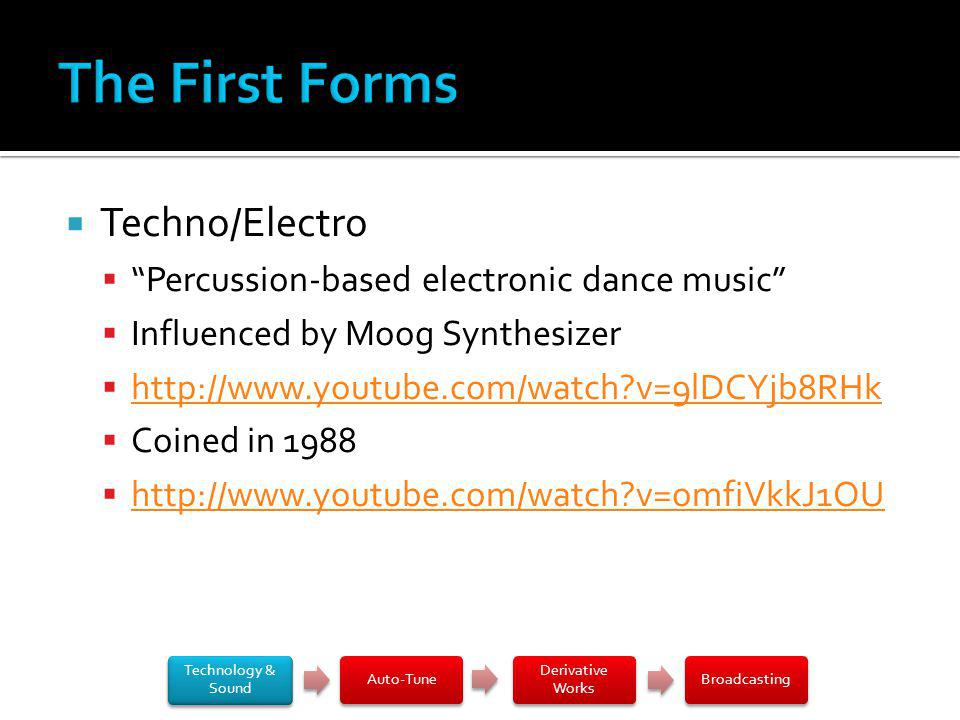 Techno/Electro Percussion-based electronic dance music Influenced by Moog Synthesizer http://www.youtube.com/watch?v=9lDCYjb8RHk Coined in 1988 http://www.youtube.com/watch?v=omfiVkkJ1OU Technology & Sound Auto-Tune Derivative Works Broadcasting