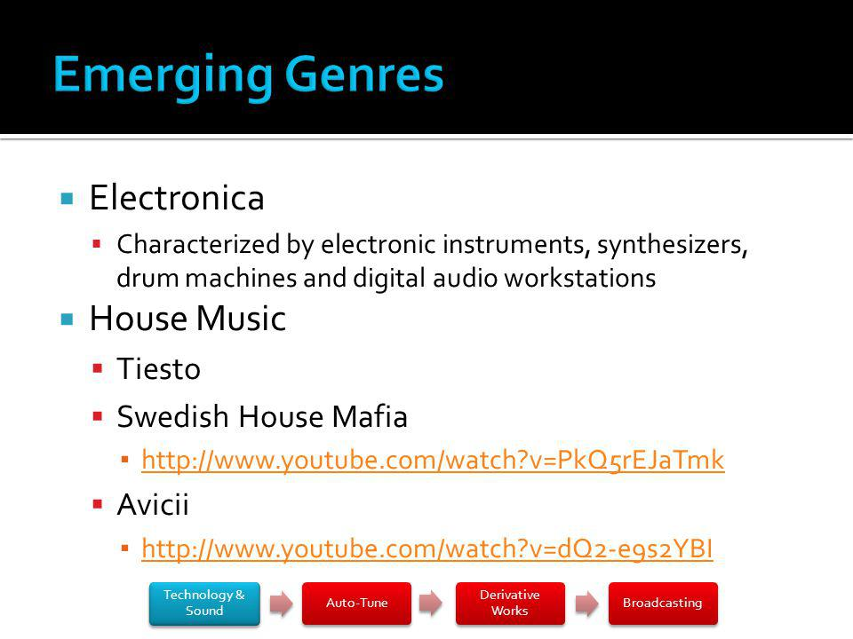 Electronica Characterized by electronic instruments, synthesizers, drum machines and digital audio workstations House Music Tiesto Swedish House Mafia http://www.youtube.com/watch?v=PkQ5rEJaTmk Avicii http://www.youtube.com/watch?v=dQ2-e9s2YBI Technology & Sound Auto-Tune Derivative Works Broadcasting