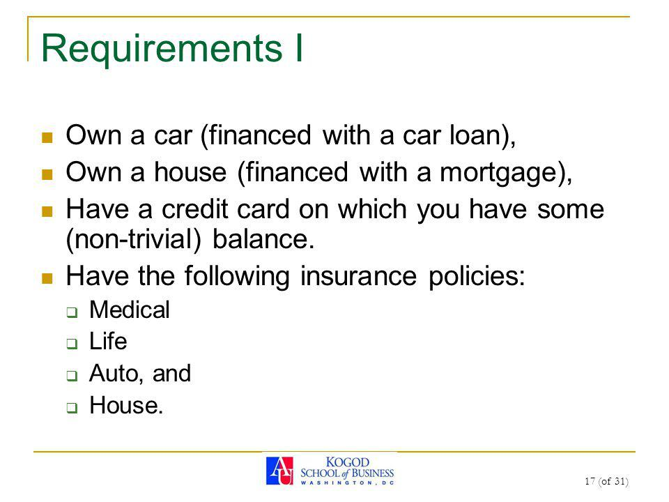 17 (of 31) Requirements I Own a car (financed with a car loan), Own a house (financed with a mortgage), Have a credit card on which you have some (non