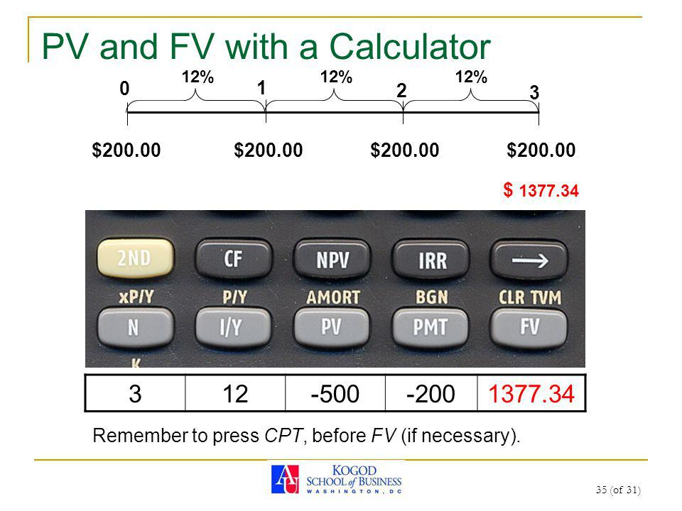35 (of 31) PV and FV with a Calculator 0 1 2 3 12% $200.00 $ 1377.34 312-500-2001377.34 Remember to press CPT, before FV (if necessary).