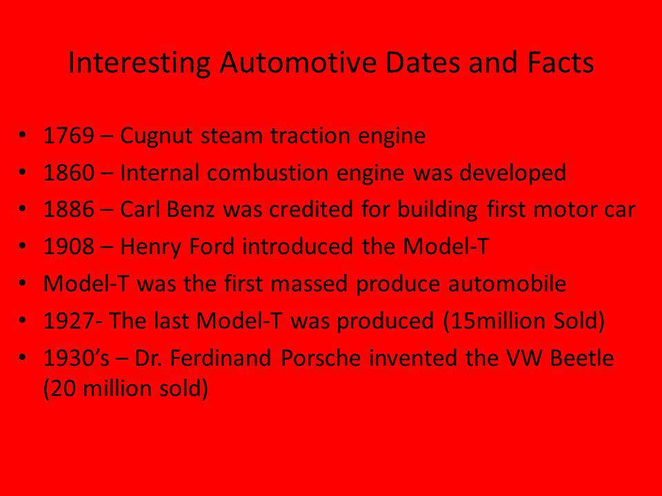 Interesting Automotive Dates and Facts 1769 – Cugnut steam traction engine 1860 – Internal combustion engine was developed 1886 – Carl Benz was credited for building first motor car 1908 – Henry Ford introduced the Model-T Model-T was the first massed produce automobile 1927- The last Model-T was produced (15million Sold) 1930s – Dr.