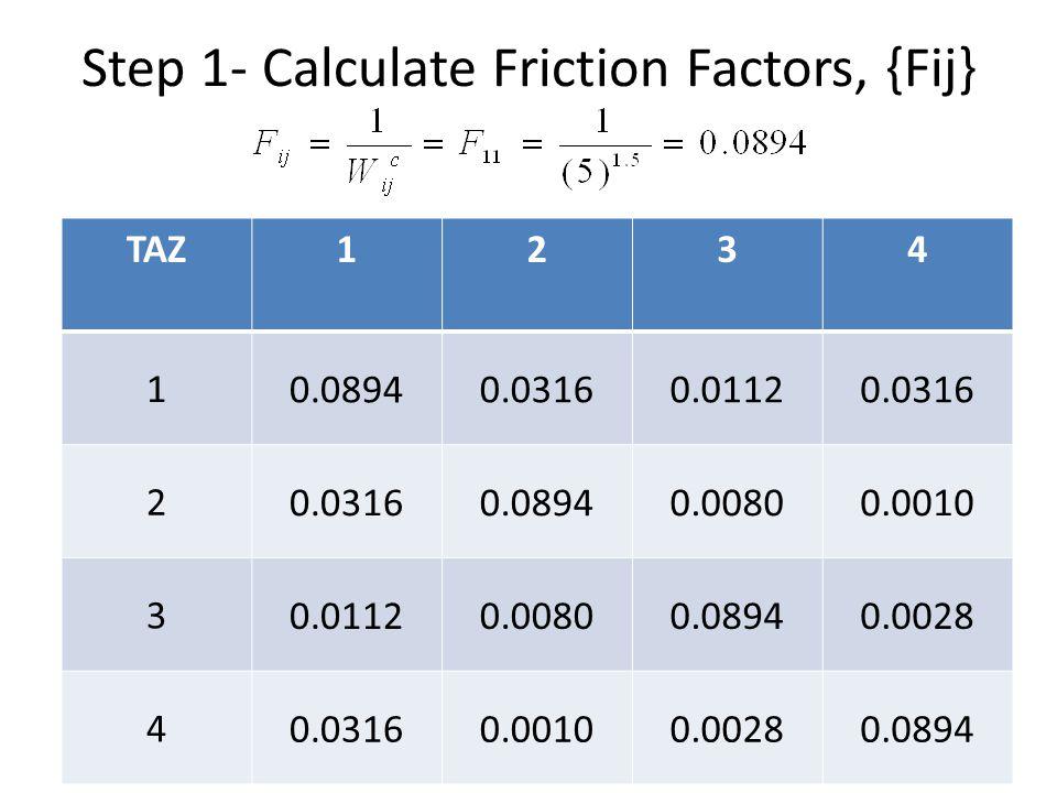 Step 1- Calculate Friction Factors, {Fij} TAZ1234 1 0.08940.03160.01120.0316 2 0.08940.00800.0010 3 0.01120.00800.08940.0028 4 0.03160.00100.00280.089