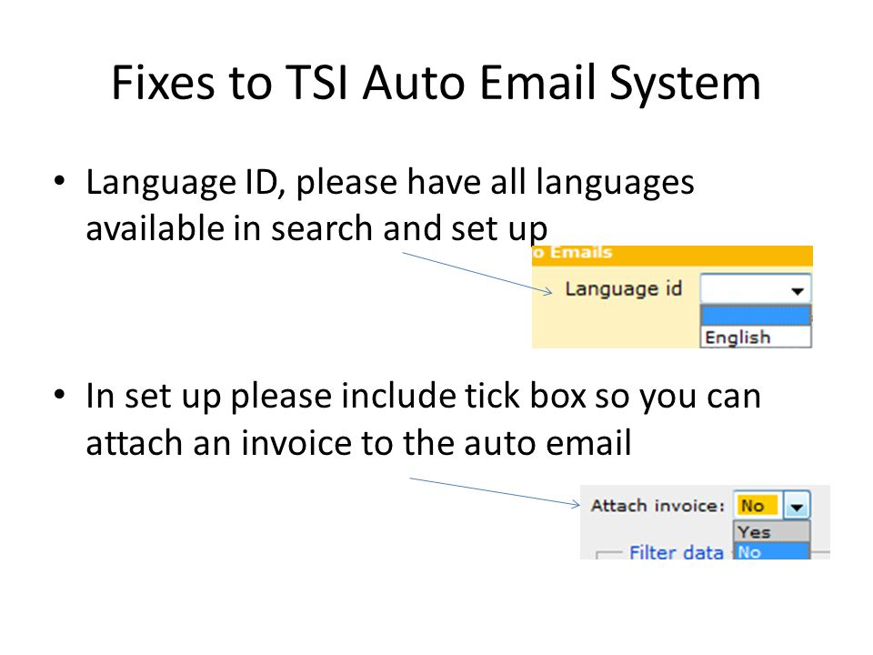 Fixes to TSI Auto Email System Language ID, please have all languages available in search and set up In set up please include tick box so you can attach an invoice to the auto email