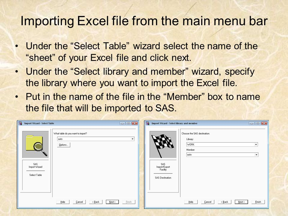 Importing Excel file from the main menu bar Under the Select Table wizard select the name of the sheet of your Excel file and click next. Under the Se