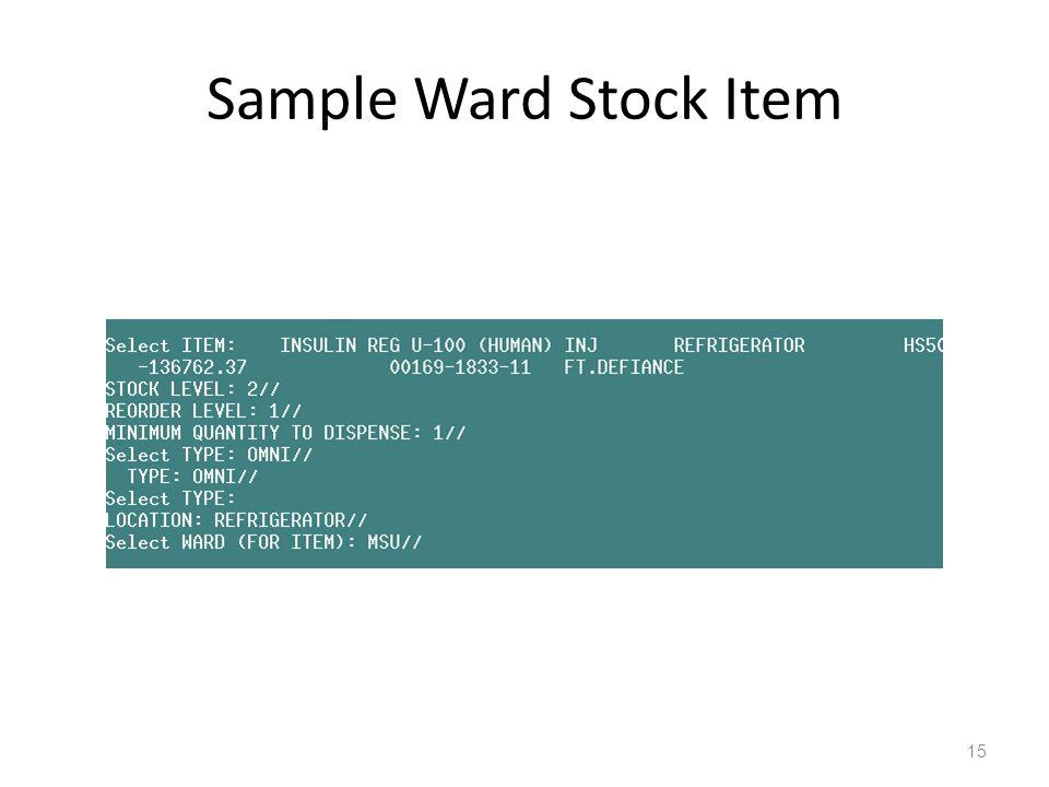 Sample Ward Stock Item 15