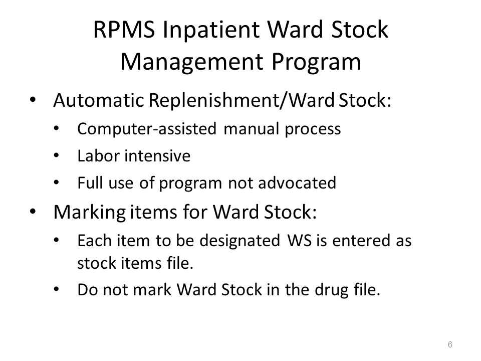 Do not mark Ward Stock In Drug File (PDM) This entry is marked for the following PHARMACY packages: Outpatient Unit Dose IV Non-VA Med MARK THIS DRUG AND EDIT IT FOR: O - Outpatient U - Unit Dose I - IV W - Ward StockNo.