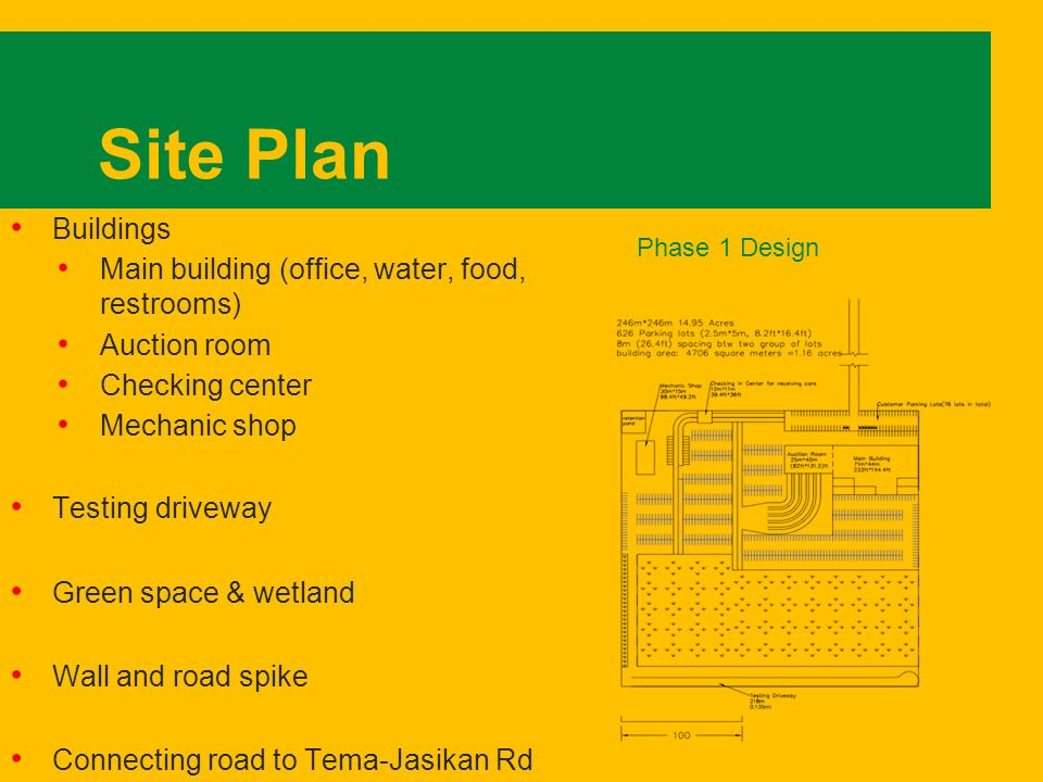 Site Plan Buildings Main building (office, water, food, restrooms) Auction room Checking center Mechanic shop Testing driveway Green space & wetland Wall and road spike Connecting road to Tema-Jasikan Rd Phase 1 Design