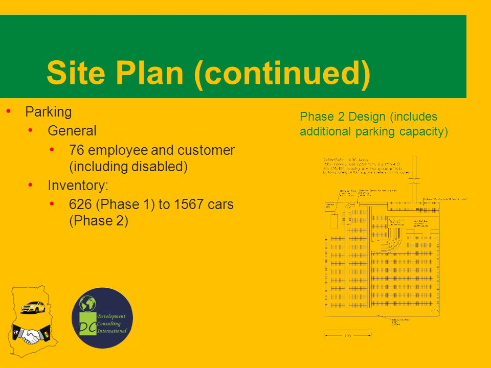 Site Plan (continued) Parking General 76 employee and customer (including disabled) Inventory: 626 (Phase 1) to 1567 cars (Phase 2) Phase 2 Design (includes additional parking capacity)