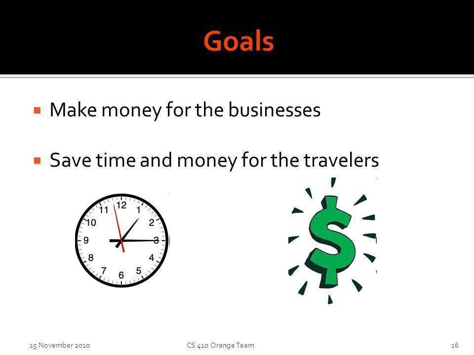 Make money for the businesses Save time and money for the travelers 15 November 2010CS 410 Orange Team16