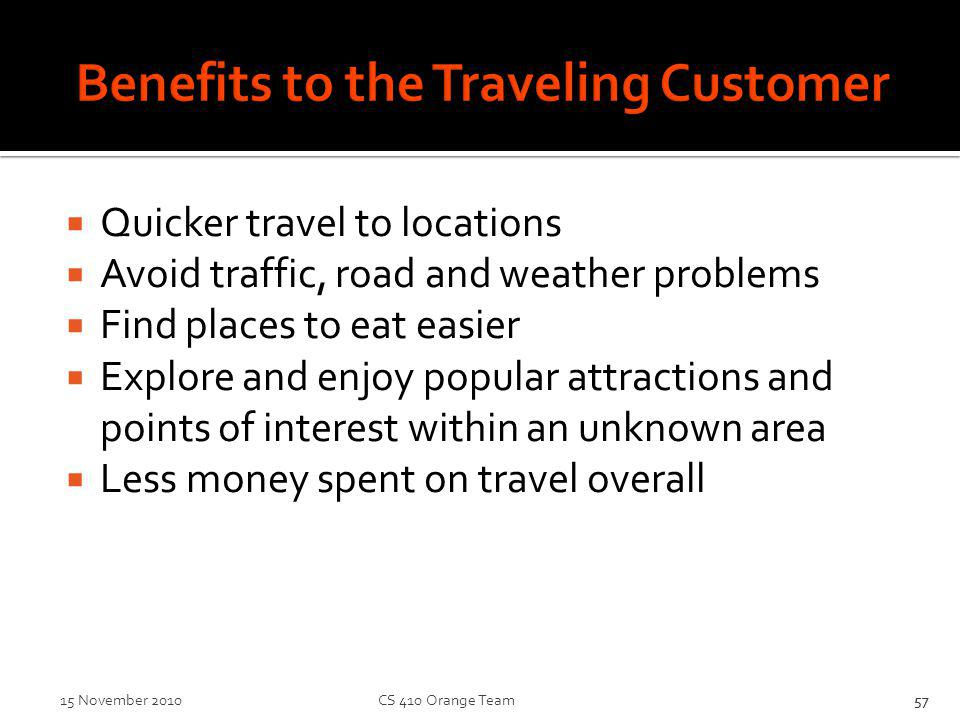 Benefits to the Traveling Customer Quicker travel to locations Avoid traffic, road and weather problems Find places to eat easier Explore and enjoy popular attractions and points of interest within an unknown area Less money spent on travel overall 57 15 November 2010 CS 410 Orange Team