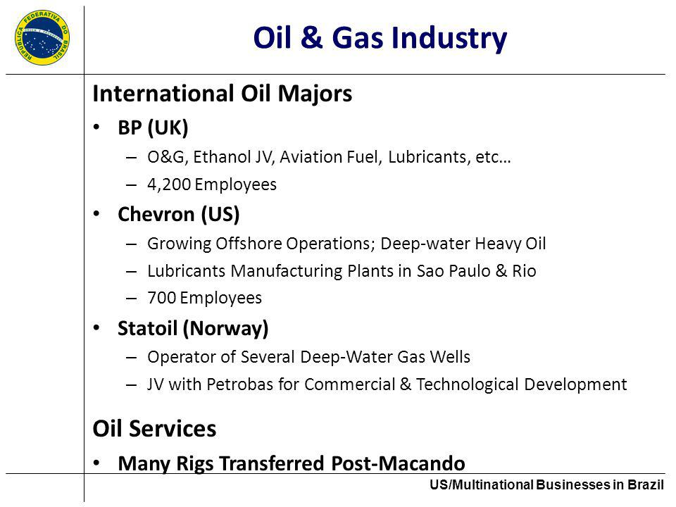 Oil & Gas Industry International Oil Majors BP (UK) – O&G, Ethanol JV, Aviation Fuel, Lubricants, etc… – 4,200 Employees Chevron (US) – Growing Offsho
