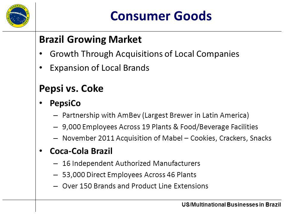 Consumer Goods Brazil Growing Market Growth Through Acquisitions of Local Companies Expansion of Local Brands Pepsi vs. Coke PepsiCo – Partnership wit