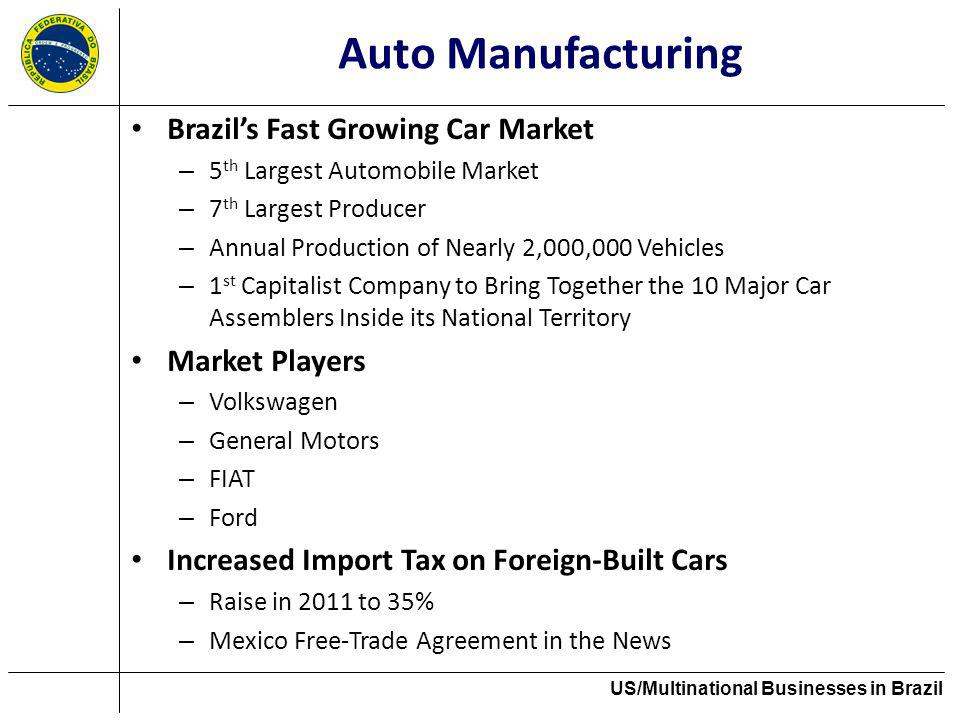 Auto Manufacturing Brazils Fast Growing Car Market – 5 th Largest Automobile Market – 7 th Largest Producer – Annual Production of Nearly 2,000,000 Ve