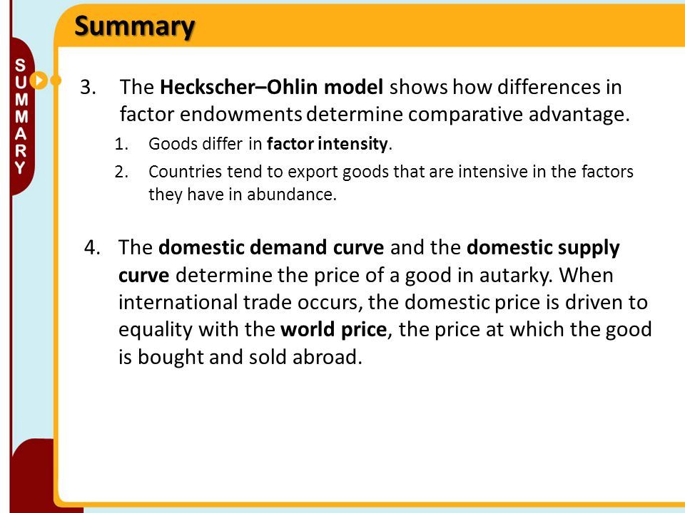 Summary 3.The Heckscher–Ohlin model shows how differences in factor endowments determine comparative advantage. 1.Goods differ in factor intensity. 2.