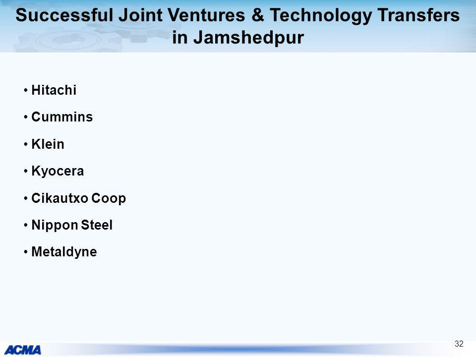 Successful Joint Ventures & Technology Transfers in Jamshedpur Hitachi Cummins Klein Kyocera Cikautxo Coop Nippon Steel Metaldyne 32