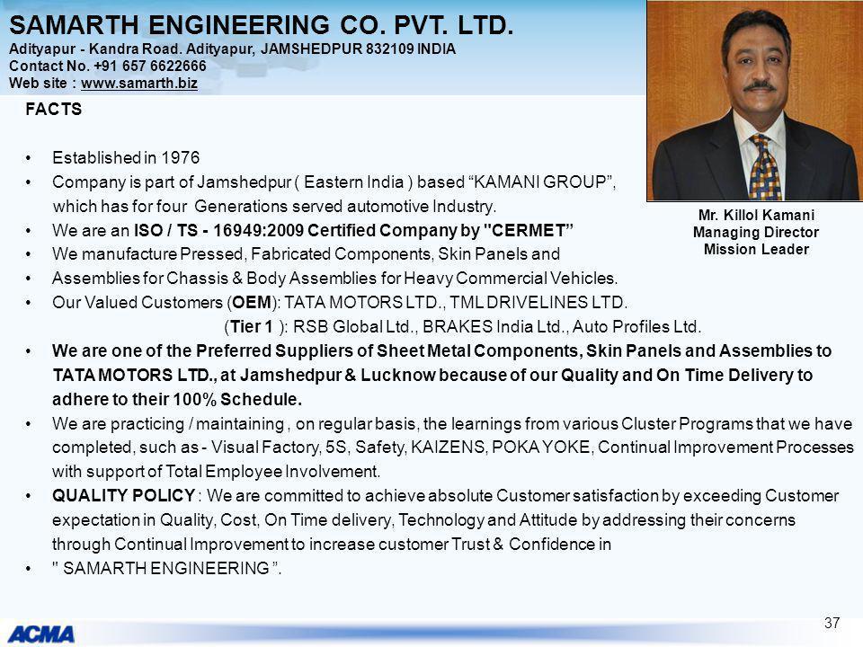 SAMARTH ENGINEERING CO. PVT. LTD. Adityapur - Kandra Road. Adityapur, JAMSHEDPUR 832109 INDIA Contact No. +91 657 6622666 Web site : www.samarth.biz F