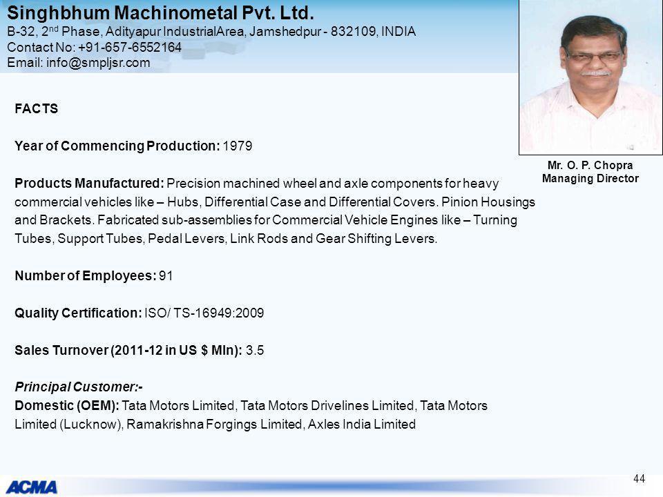 Singhbhum Machinometal Pvt. Ltd. B-32, 2 nd Phase, Adityapur IndustrialArea, Jamshedpur - 832109, INDIA Contact No: +91-657-6552164 Email: info@smpljs